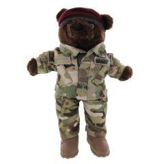 10'' Mini US Army Airborne Teddy Bear in Camo Army Combat Uniform