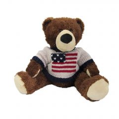 11'' Small Teddy Bear in US Flag Sweater
