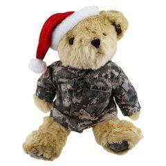 12'' Large US Army Teddy Bear in Universal Camo Pattern ACU Uniform and Santa Hat